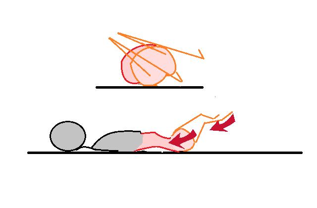 仰向け腰操体左倒し右捻じり腰反らし力入れる図