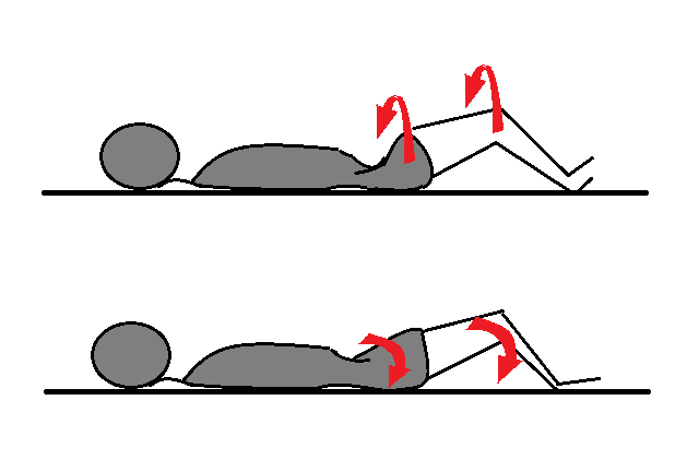仰向けで膝を立てて腰の捻じりをチェックする(左右)